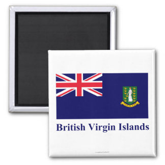 British Virgin Islands Flag with Name Square Magnet