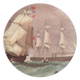 British warship HMS Warrior Plate
