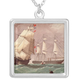 British warship HMS Warrior Silver Plated Necklace