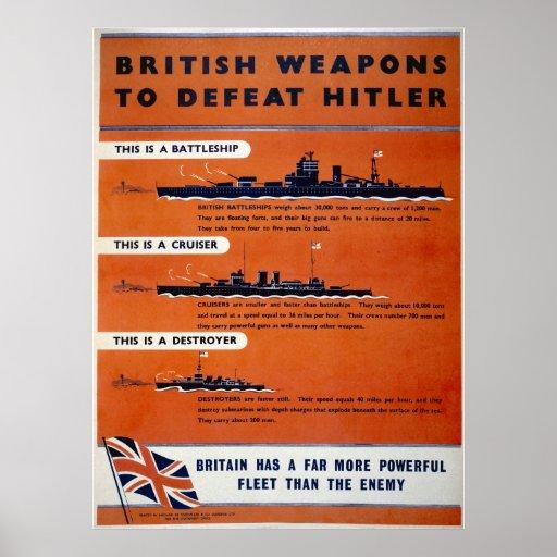 British weapons WW2 - Battleships Poster