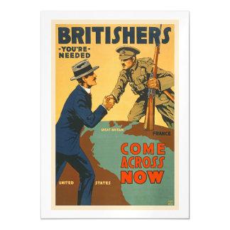 Britishers Come Across Now WWI British Propaganda Magnetic Invitations