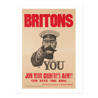Britons Lord Kitchener Wants You WWI Propaganda Postcard