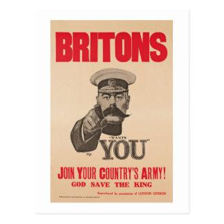 Britons Lord Kitchener Wants You WWI Propaganda Postcard