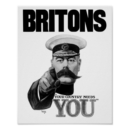 Britons Your Country Needs You - Lord Kitchener Poster