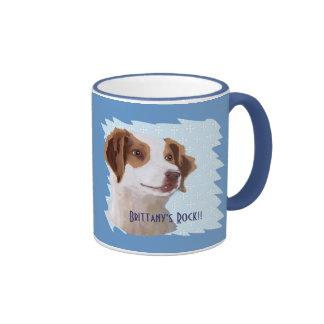 Brittany ~ Blue w/ White Diamonds Design Ringer Mug