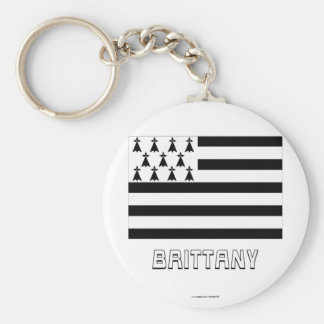 Brittany Flag with Name Basic Round Button Key Ring