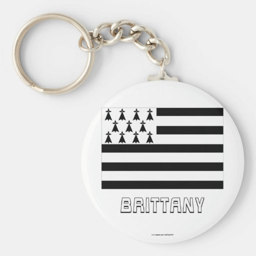 Brittany Flag with Name Keychain