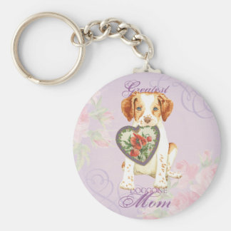 Brittany Heart Mom Basic Round Button Key Ring