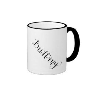Brittany name mug in black and white