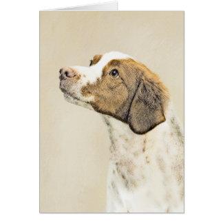 Brittany Painting - Cute Original Dog Art Card