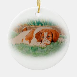 Brittany puppy christmas ornament