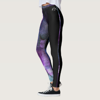 """Brittany"" Purple Abstract with strip Leggings"