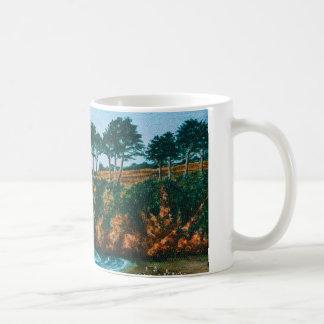 Brittany Rocky Coast Beach Acrylic Painting, Cup Basic White Mug