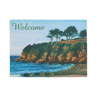 Brittany Rocky Coast Beach Painting  Entry Welcome Doormat