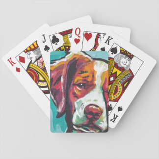 Brittany spaniel Dog fun bright pop art Playing Cards