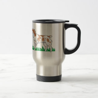 BRITTANY SPANIEL IN GRASS STAINLESS STEEL TRAVEL MUG