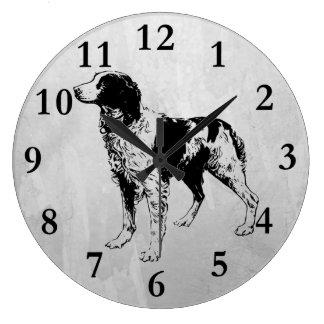 brittany spaniel large clock