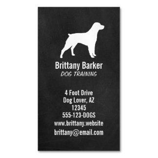 Brittany Spaniel Silhouette Magnetic Business Cards