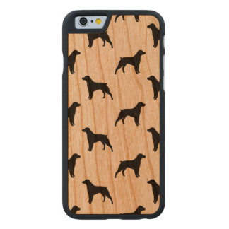 Brittany Spaniel Silhouettes Pattern Carved Cherry iPhone 6 Case