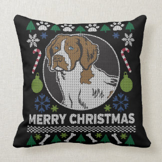 Brittany Spaniel Ugly Christmas Sweater Dog Design Cushion