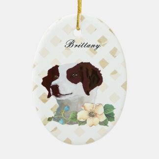 Brittany ~ Tan Leaves Motiff Ceramic Oval Decoration