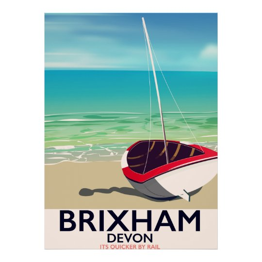 Brixham beach Devon vintage travel poster