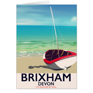 Brixham beach Devon vintage travel poster Card