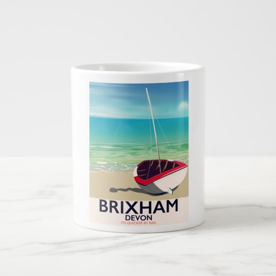 Brixham beach Devon vintage travel poster Large Coffee