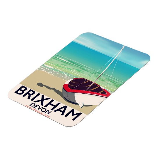Brixham beach Devon vintage travel poster Magnet