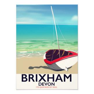 Brixham beach Devon vintage travel poster Photo Print