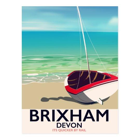 Brixham beach Devon vintage travel poster Postcard