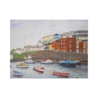 Brixham Harbour, Devon, England UK Stretched Canvas Print