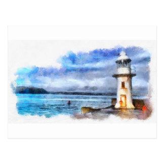 Brixham Lighthouse Watercolour Postcard