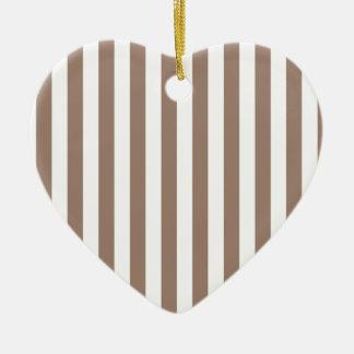 Broad Stripes - White and Beaver Ceramic Heart Decoration
