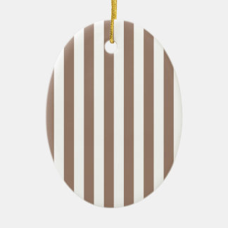 Broad Stripes - White and Beaver Ceramic Oval Decoration