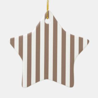 Broad Stripes - White and Beaver Ceramic Star Decoration