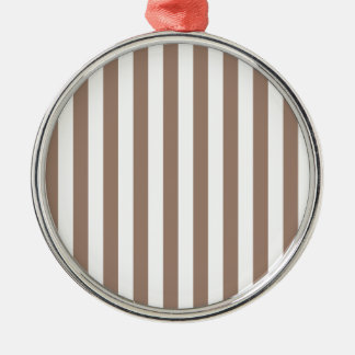 Broad Stripes - White and Beaver Silver-Colored Round Decoration