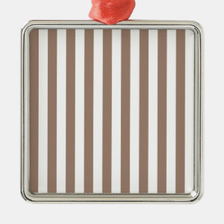 Broad Stripes - White and Beaver Silver-Colored Square Decoration