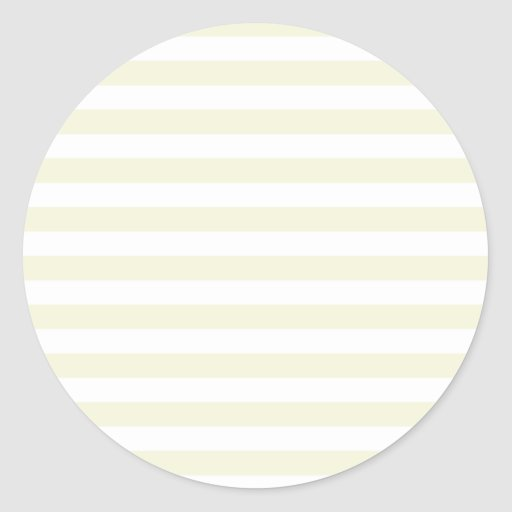 Broad Stripes - White and Beige Round Stickers
