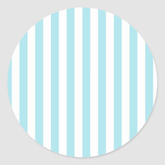 Broad Stripes - White and Blizzard Blue Classic Round Sticker