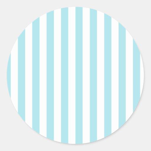 Broad Stripes - White and Blizzard Blue Round Sticker
