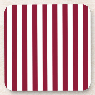 Broad Stripes - White and Burgundy Drink Coaster