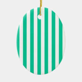 Broad Stripes - White and Caribbean Green Ornament