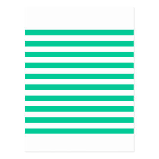 Broad Stripes - White and Caribbean Green Postcard