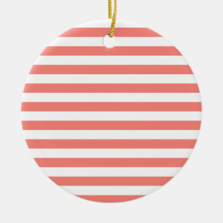 Broad Stripes - White and Coral Pink Christmas Ornament