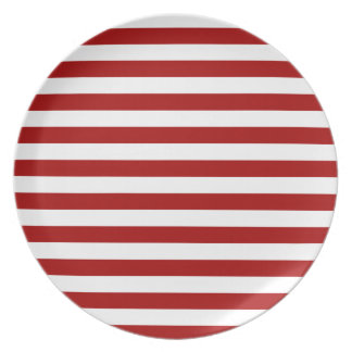 Broad Stripes - White and Dark Candy Apple Red Dinner Plates