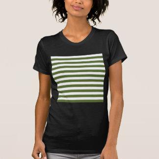 Broad Stripes - White and Dark Olive Green Tshirts