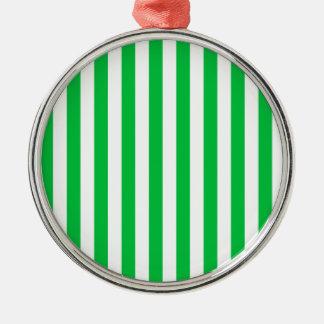 Broad Stripes - White and Dark Pastel Green Ornament