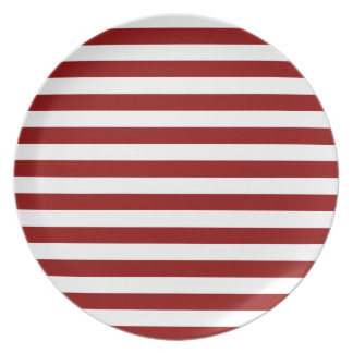 Broad Stripes - White and Dark Red Dinner Plates