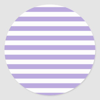 Broad Stripes - White and Light Pastel Purple Classic Round Sticker